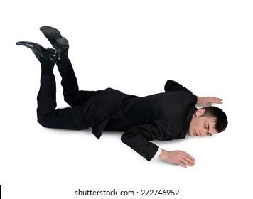 Isolated business man sleep position