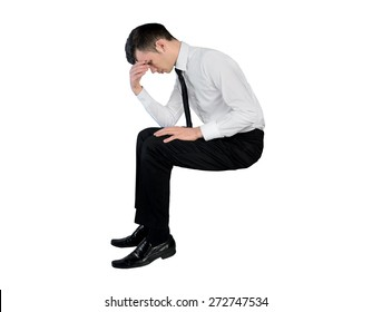 Isolated business man standing worried