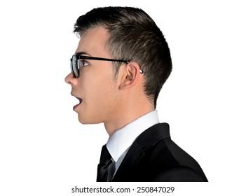 Isolated business man talk something