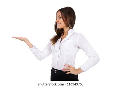 Isolated business woman presenting
