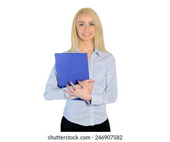 Isolated business young woman happy