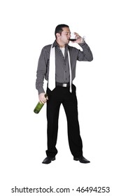 Isolated businessman celebrating with a glass of drink and bottle in hand