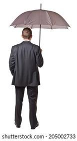 isolated businessman hold classic  umbrella