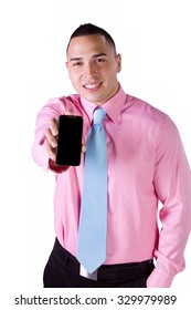 Isolated Businessman Showing His Cell Phone