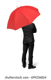 An isolated businessman standing with his back turned under a red umbrella. Business assistance. Consulting services. Start-up incubator.