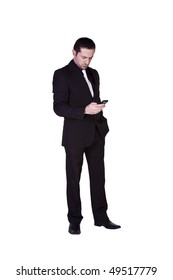 Isolated businessman texting on his cell phone