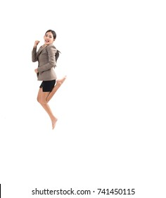 isolated businesswoman jumping.
