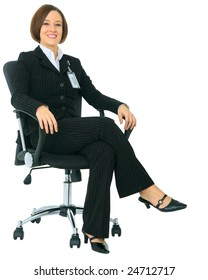 isolated businesswoman sitting on chair as a boss