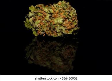 Isolated Cannabis - Bubba Kush Strain, black background with mirror reflection.