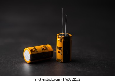 Isolated capacitor, used in electronic device. Electronic parts concept.