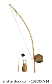 isolated capoeira musical instrument  berimbau with dobrao caxixi and baqueta