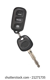 Isolated car key with remote control lock and alarm device.