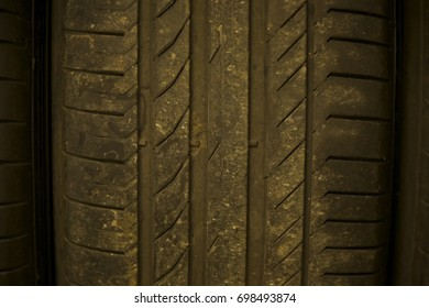 Isolated car tires background