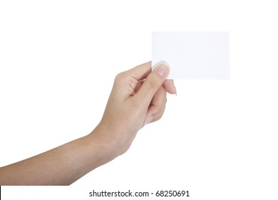 Isolated: card blank with hand on white background