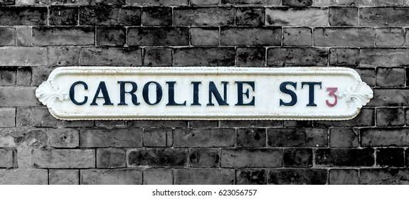 Isolated Caroline Street British Vintage Street Signs Shallow Depth of Field