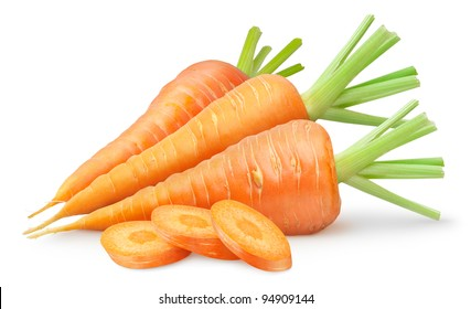 Isolated carrots. Three whole fresh carrots and slices isolated on white background