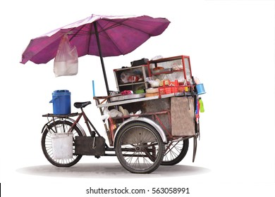Isolated cart street food with noodles cart in Thailand on white background.
