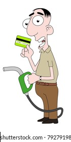 Isolated cartoon character holding fuel pump and credit card