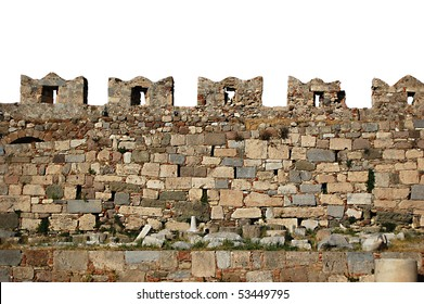Isolated castle wall battlements of Kos Castle on the Greek Island of Kos