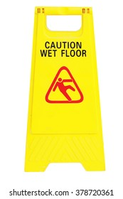 Isolated caution wet floor sign