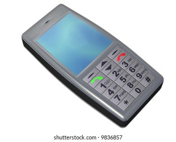 An isolated cell phone on white background
