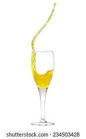 Isolated champagne flute with splashing liquid