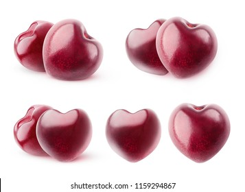 Isolated cherries. Collection of heart shaped sweet cherry fruits without stems isolated on white background with clipping path