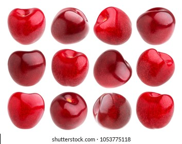 Isolated cherry. Collection of cherries isolated on white background
