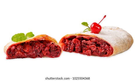 Isolated cherry strudel on white background