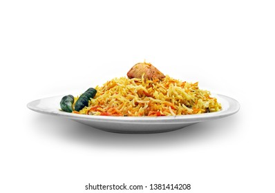 Isolated chicken biryani, Traditional pakistani food, Spicy fried rice, Ramadan iftar meal, Eid dinner on white background. - Image