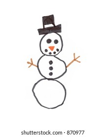 isolated child's drawing of a snowman - Shutterstock ID 870977