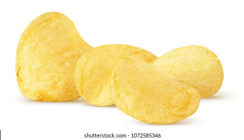 Isolated chips. Group of potato chips isolated on white background, with clipping path