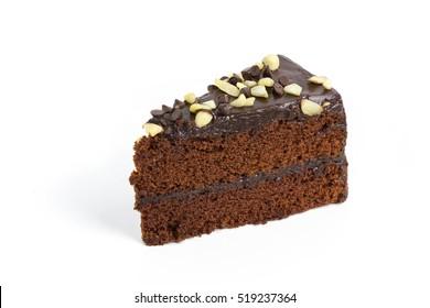 isolated chocolated cake on white background