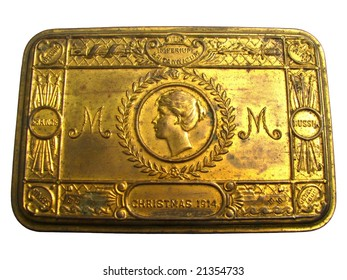 isolated christmas brass box 1914 year