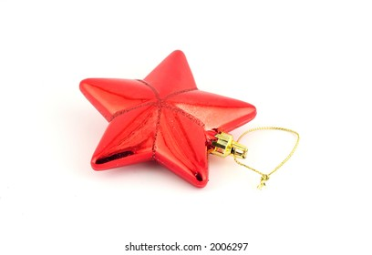 Isolated christmas decoration on white background (Red star)