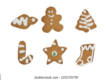 Isolated christmas gingerbread cookies on white