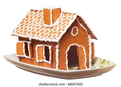 Isolated christmas gingernut house on vessel