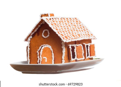 Isolated christmas gingernut house on vessel, white isolated background