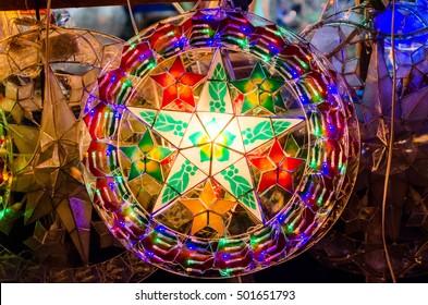Isolated Christmas parol/lantern with lighting