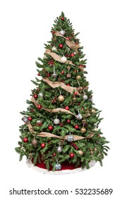 Isolated Christmas tree decorated with ornaments and burlap garland