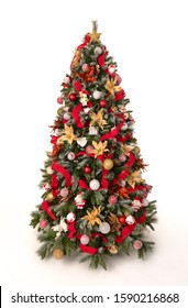 Isolated christmas tree with red and golden decoration