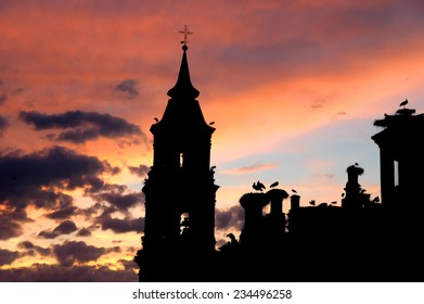 Isolated church with storks in spain