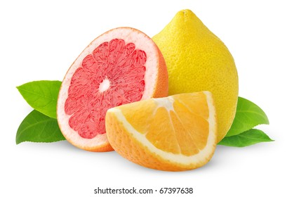 Isolated citrus fruits. Lemon fruit, half of pink grapefruit and orange wedge isolated on white background