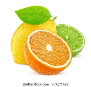 Isolated citrus fruits. Lemon, lime, and orange isolated on white background