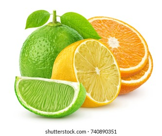 Isolated citrus fruits. Lemon, lime, and orange isolated on white background