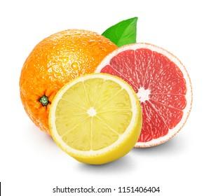 Isolated citrus fruits lemon, orange, grapefruit. Whole orange, half grapefruit and lemon fruit isolated on white background