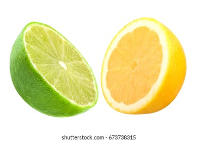 Isolated citrus fruits. Lime and lemon isolated on white background with clipping path