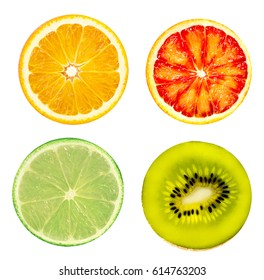 Isolated citrus fruits. Orange, grapefruit, lime and kiwi  isolated on white background