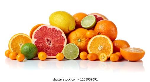 Isolated citrus fruits. Pieces of lemon, lime , tangerine , pink grapefruit and orange isolated on white background.