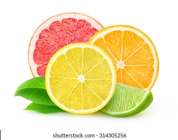 Isolated citrus fruits. Slices of lemon, orange, lime and grapefruit) isolated on white background, with clipping path